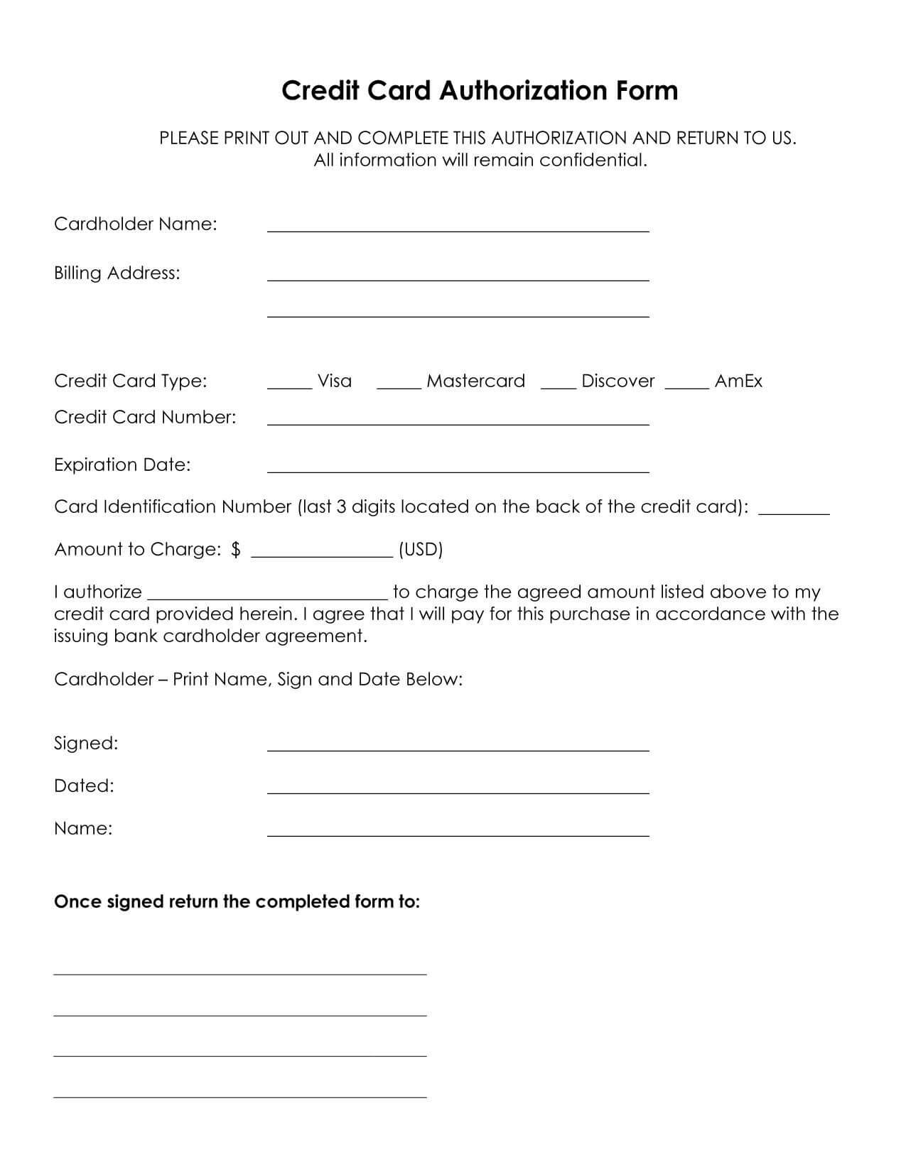Credit Card Authorization Form Template In 2020 | Credit With Credit Card Payment Slip Template
