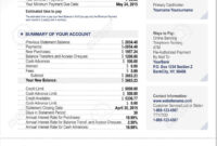 Credit Card Bank Account Statement Finance Document Template intended for Credit Card Payment Slip Template