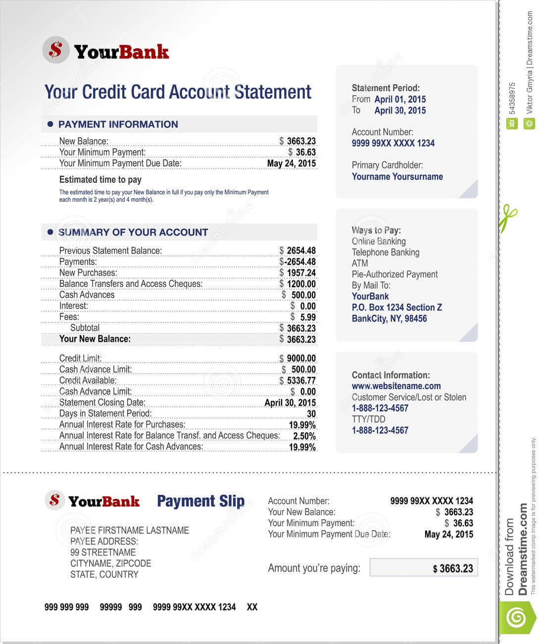 Credit Card Bank Account Statement Template Stock Vector Pertaining To Credit Card Bill Template