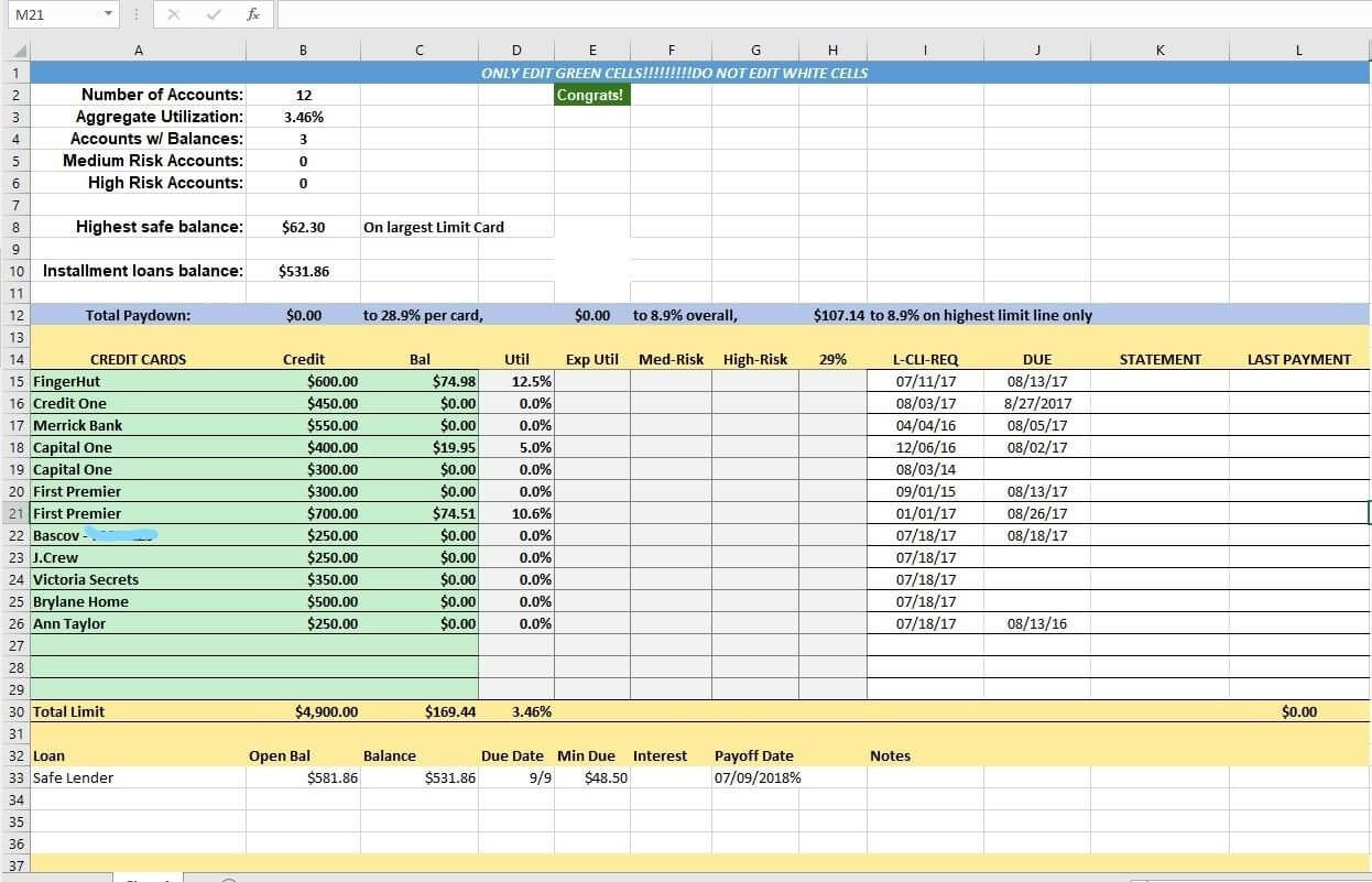 Credit Card Utilization Tracking Spreadsheet   Credit Card Pertaining To Credit Card Payment Spreadsheet Template