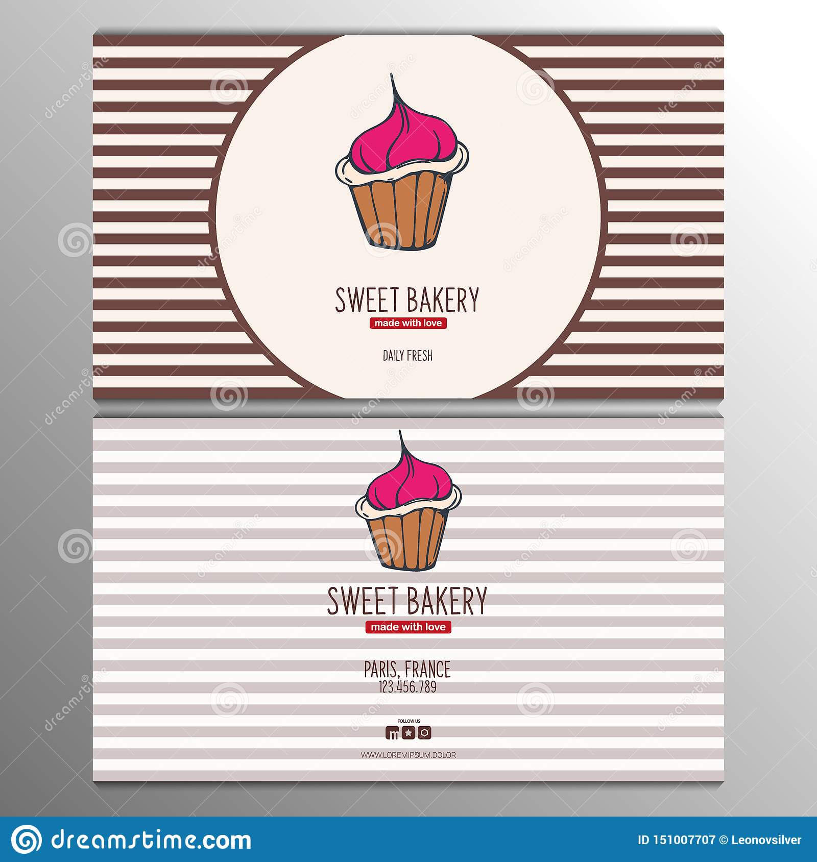 Cupcake Or Cake Business Card Template For Bakery Or Pastry In Cake Business Cards Templates Free