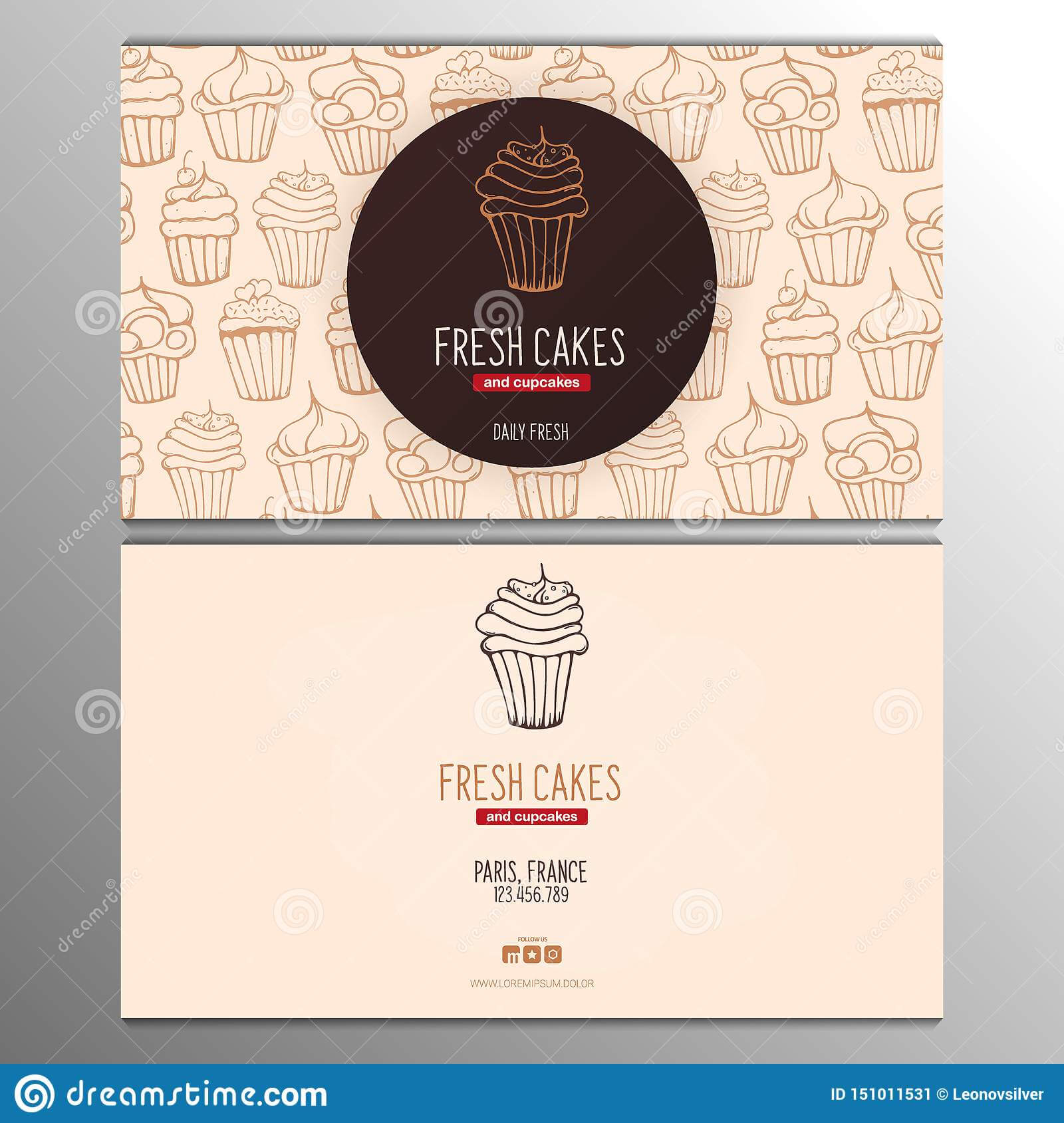 Cupcake Or Cake Business Card Template For Bakery Or Pastry Pertaining To Cake Business Cards Templates Free