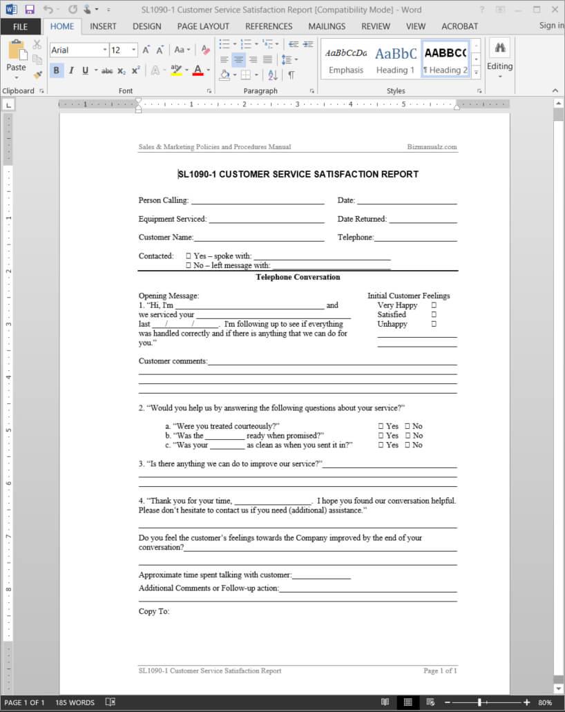 Customer Service Satisfaction Report Template | Sl1090 1 In Service Review Report Template