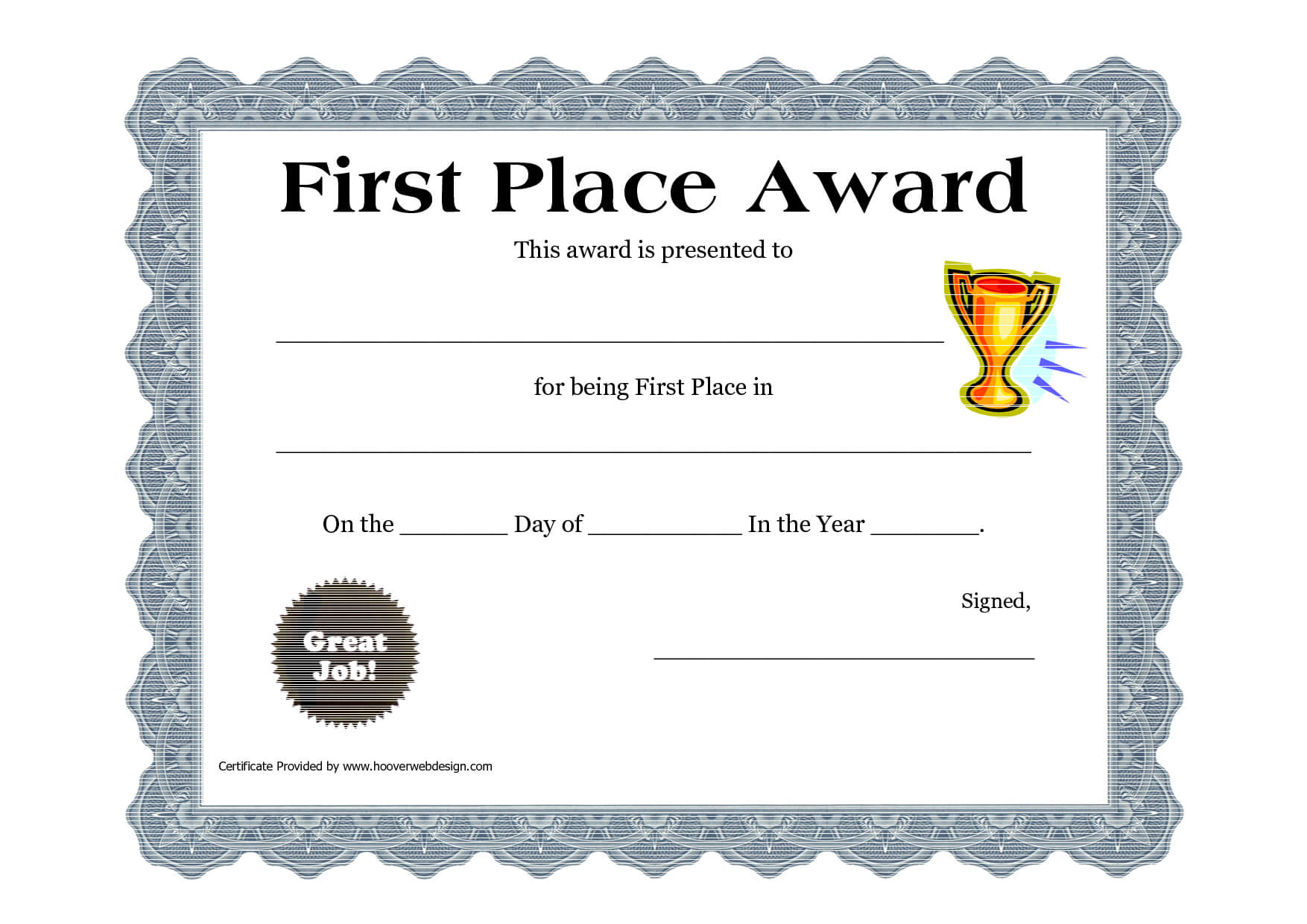 Customizable Printable Certificates | First Place Award Within First Place Certificate Template