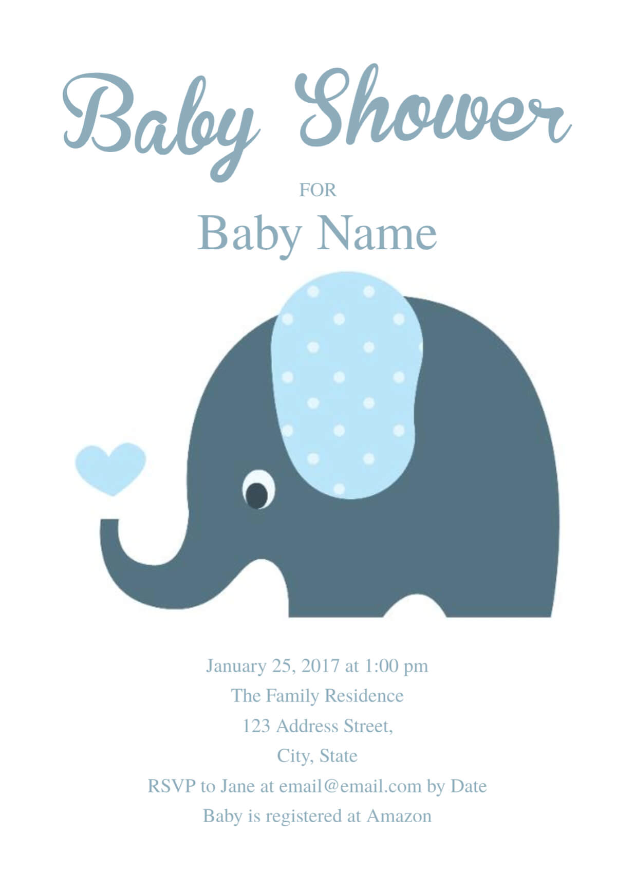 Cute Elephant Baby Shower Invitation Template | Free Baby Inside Free Baby Shower Invitation Templates Microsoft Word