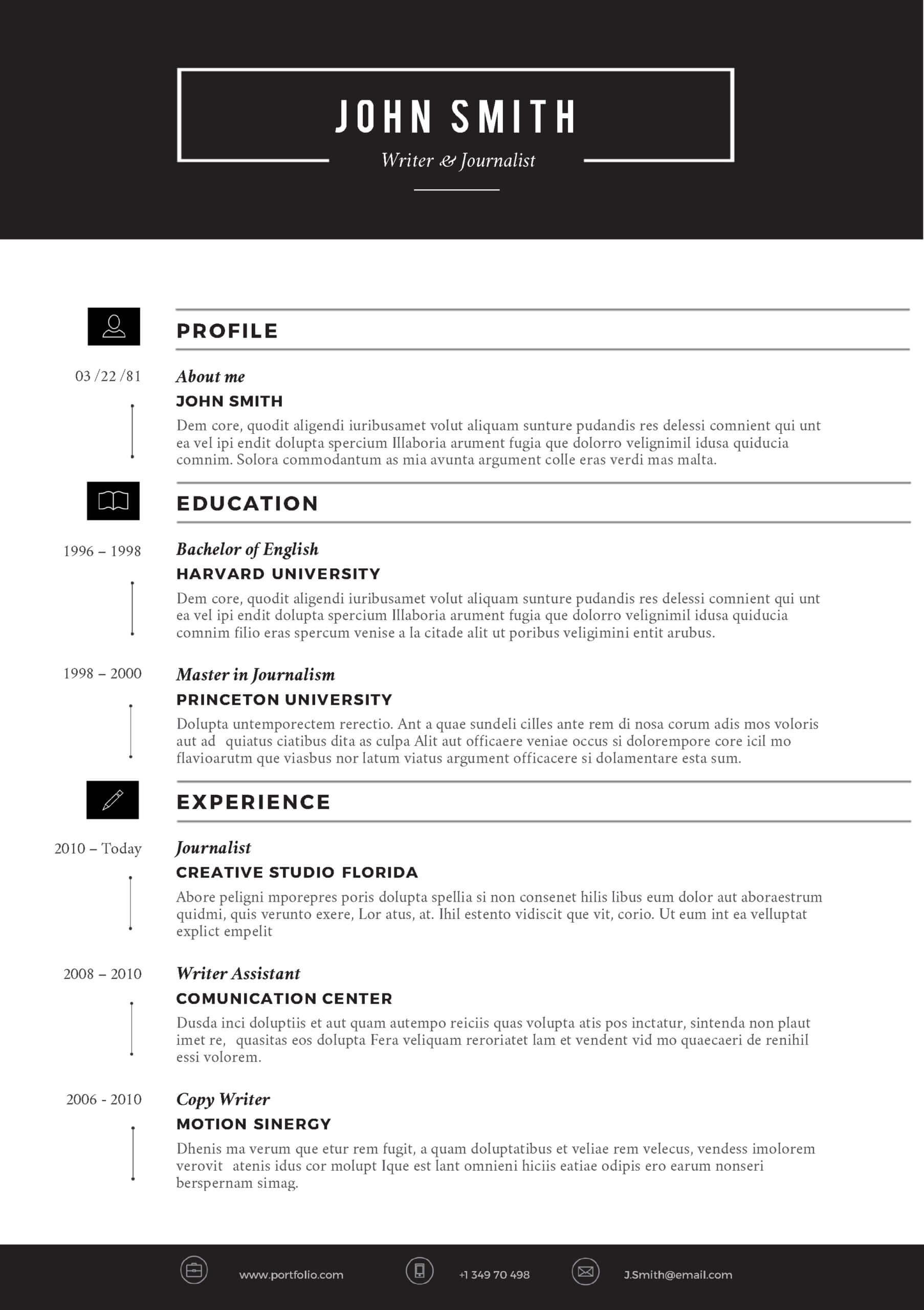 Cvfolio Best 10 Resume Templates For Microsoft Word Regarding Microsoft Word Resumes Templates
