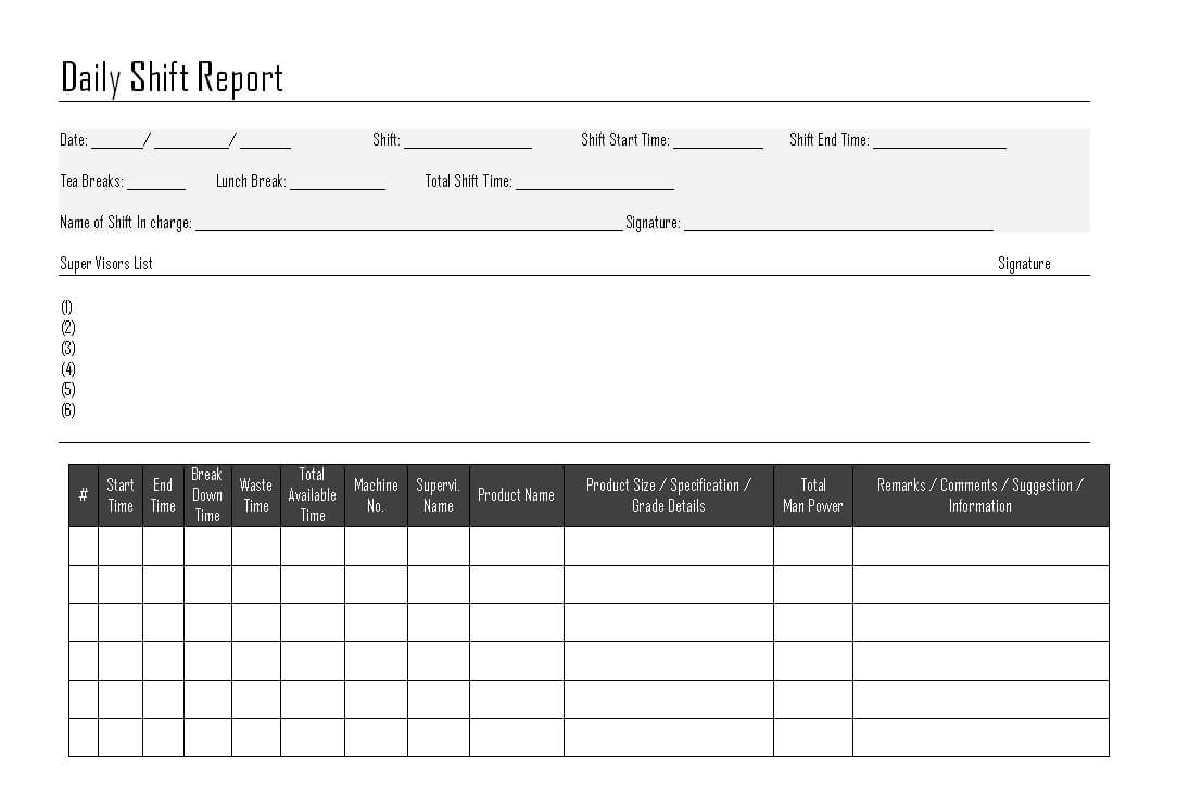 Daily Shift Report - With Regard To Shift Report Template
