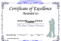 Dance Award Certificate Template | Certificate Templates for Dance Certificate Template