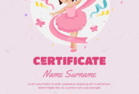 Dance Certificate Template | Cute Children Ballet Class inside Dance Certificate Template