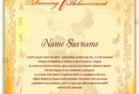 Dancing Achievement Certificate Template Vintage Frame Stock regarding Dance Certificate Template
