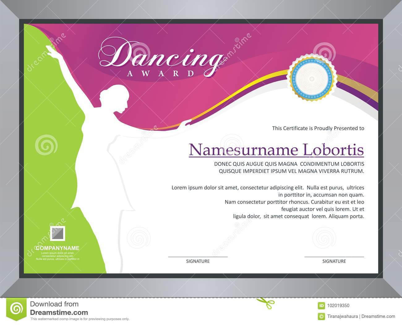 Dancing Award Stock Vector. Illustration Of Competition In Dance Certificate Template
