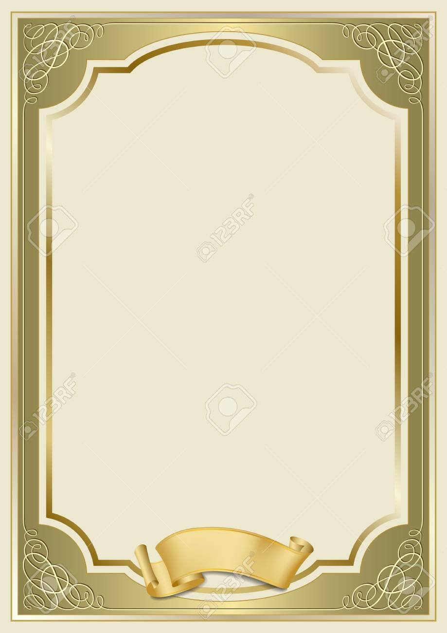 Decorative Rectangular Framework And A Scroll. Template For Diploma,.. Throughout Certificate Scroll Template