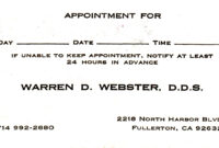 Dental Appointment Card – Zimer.bwong.co throughout Dentist Appointment Card Template