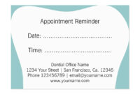 Dentist Appointment Reminder Cards | Dental Office | Zazzle throughout Appointment Card Template Word