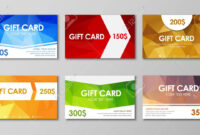 Design Of Colored Polygonal Gift Cards. Templates Of Different.. in Advertising Cards Templates
