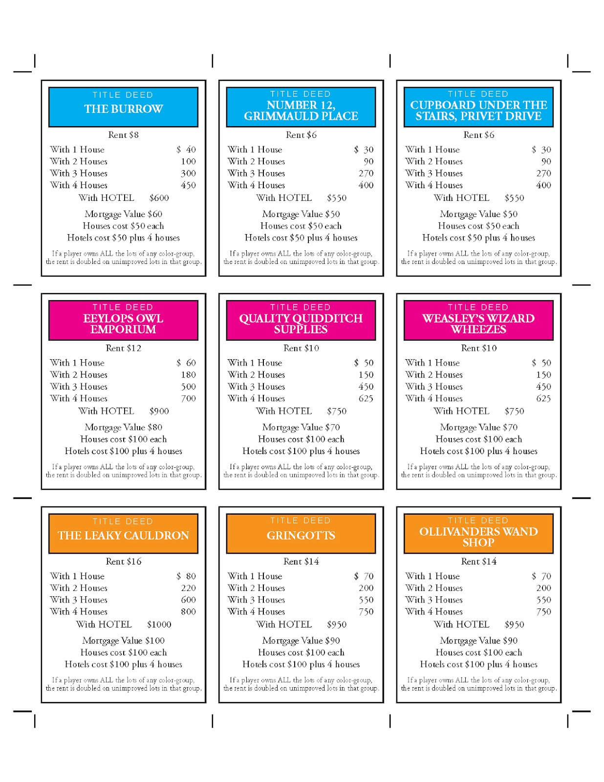 Design + Technology Education: How To Make Harry Potter Monopoly In Monopoly Property Cards Template