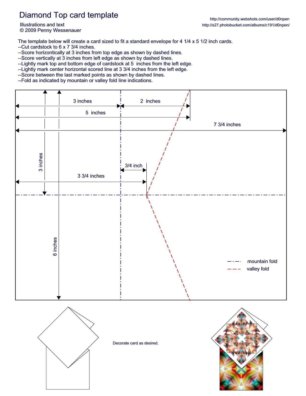 Diamond Topped Card Template - To Fit A Standard A2 Card With Regard To A2 Card Template