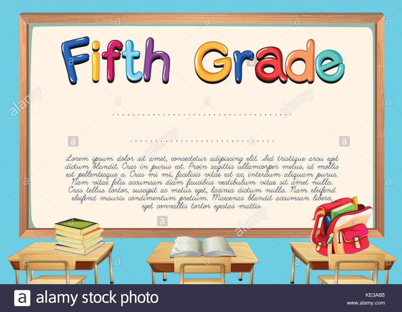 Diploma Template For Fifth Grade Students Illustration Stock With Regard To 5Th Grade Graduation Certificate Template