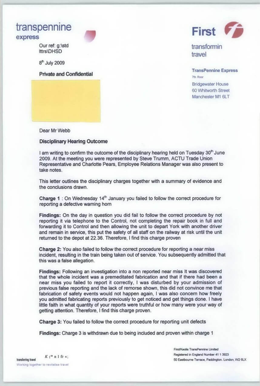 Disciplinary Hearing Outcome Letter - Transpennine Express For Investigation Report Template Disciplinary Hearing