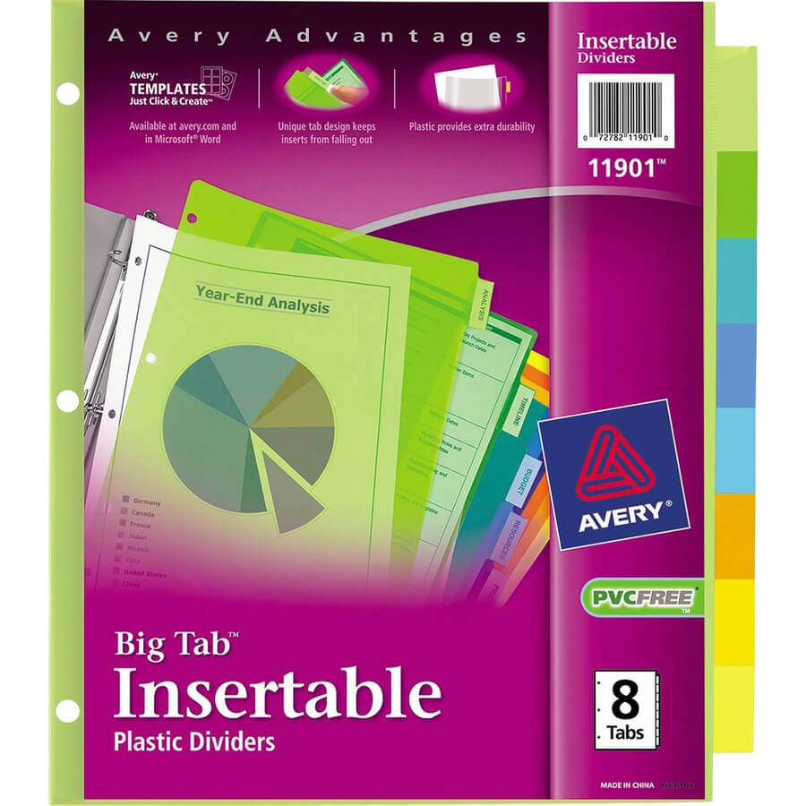 Discount Bulk Prices: Avery Big Tab Plastic Insertable Divider Within 8 Tab Divider Template Word