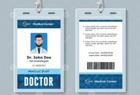 Doctor Id Card. Medical Identity Badge Design Template Stock intended for Doctor Id Card Template