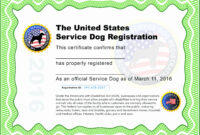 Dog Certificate Template – Zimer.bwong.co with Service Dog Certificate Template
