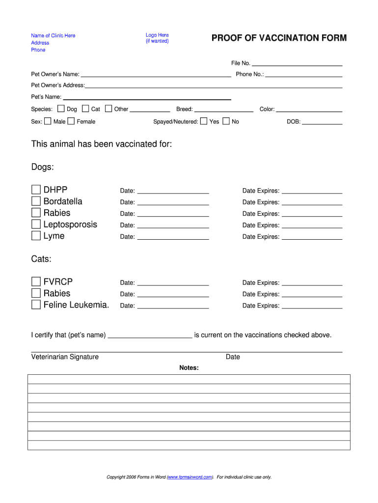 Dog Shot Record – Fill Online, Printable, Fillable, Blank Throughout Certificate Of Vaccination Template