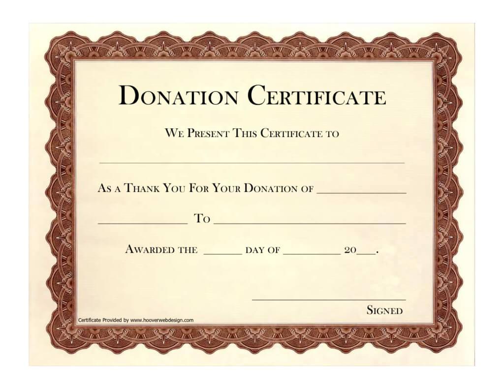 Donation Certificate Template   Certificate Templates With Regard To Donation Certificate Template