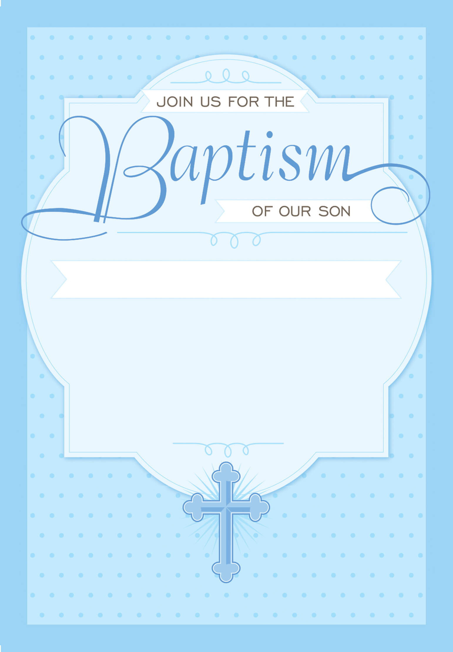 Dotted Blue - Baptism & Christening Invitation Template With Regard To Blank Christening Invitation Templates