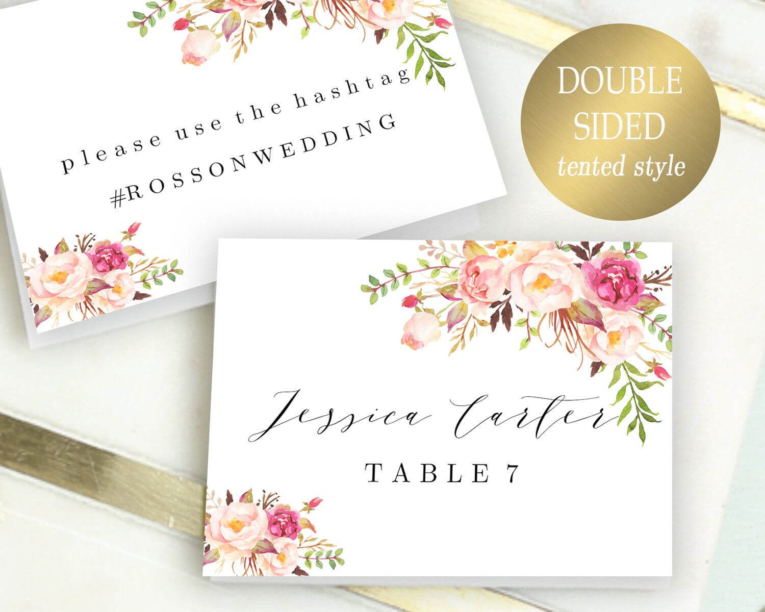 Double Sided Place Cards Printable Place Card Template With Reserved Cards For Tables Templates