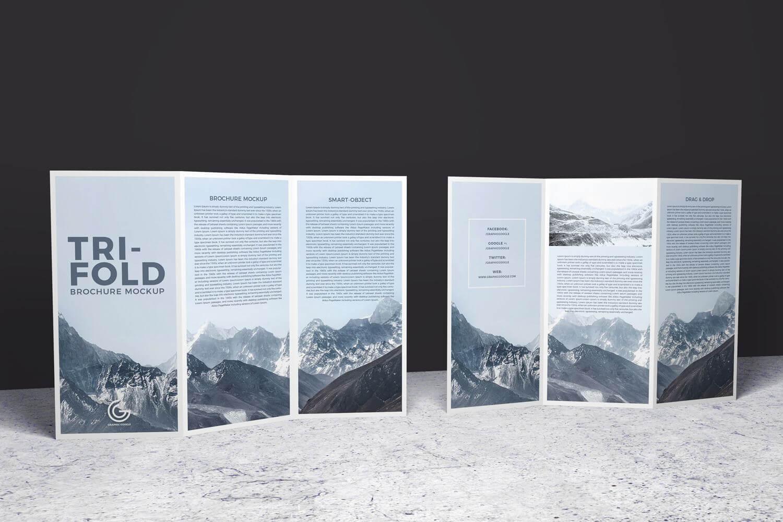 Double Sided Tri Fold Brochure Psd Mockup | Brochure Template In Double Sided Tri Fold Brochure Template