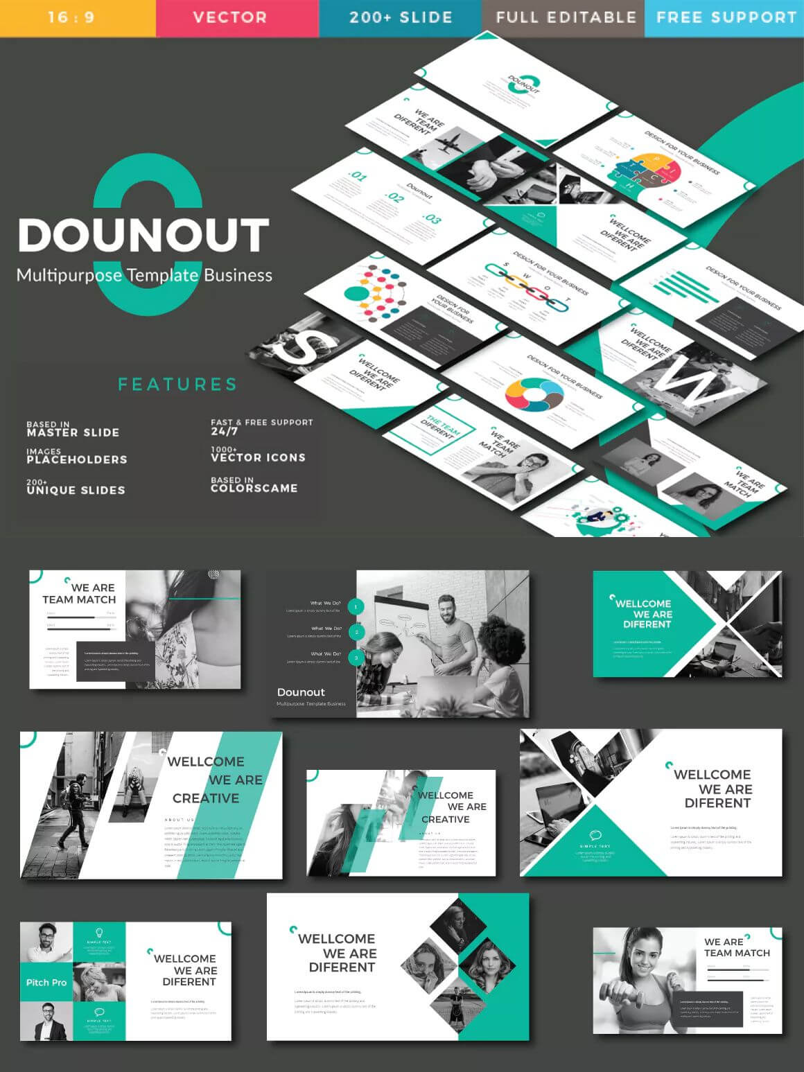Dounot Creative Keynote Presentation Template – 3 Color Throughout Keynote Brochure Template