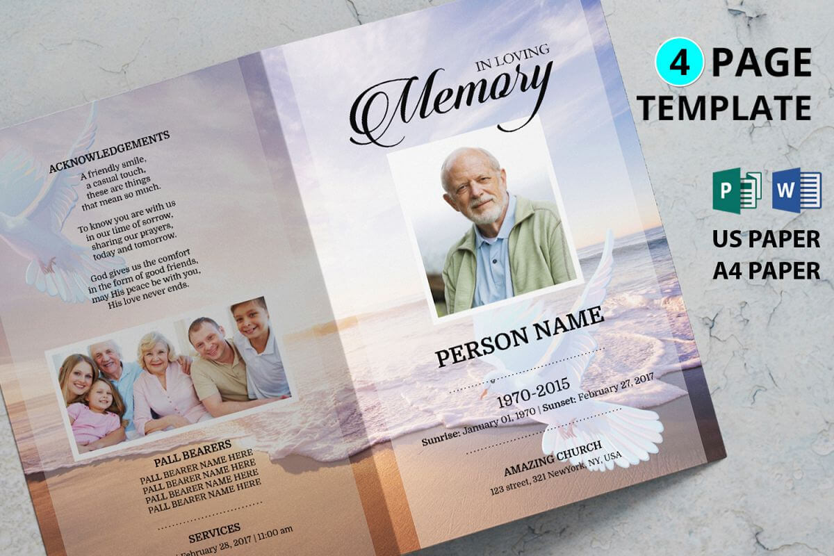 Dove And Beach Funeral Program Template Throughout Memorial Brochure Template