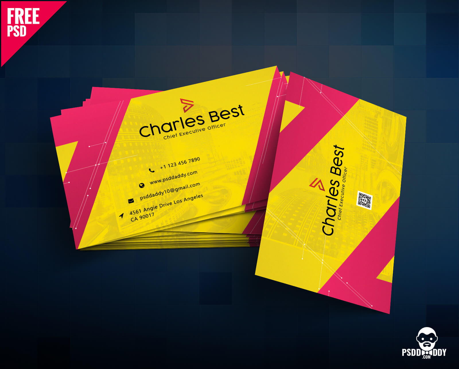 Download] Creative Business Card Free Psd | Psddaddy With Regard To Business Card Size Photoshop Template