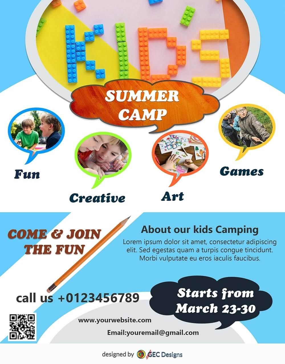 Download Free Kids Summer Camp Flyer Design Templates For Summer Camp Brochure Template Free Download