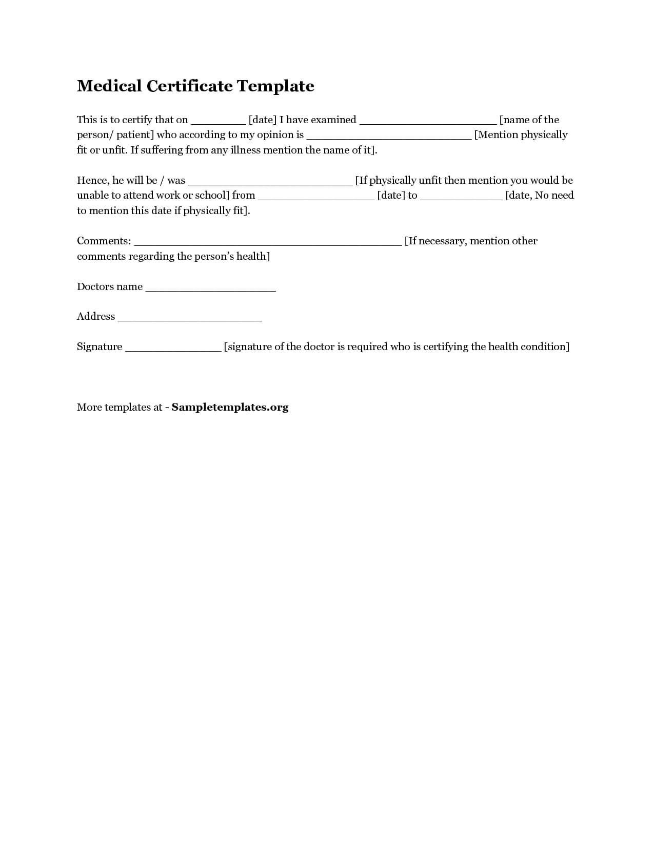 Download Medical Certificate Template1 | Certificate Pertaining To Australian Doctors Certificate Template