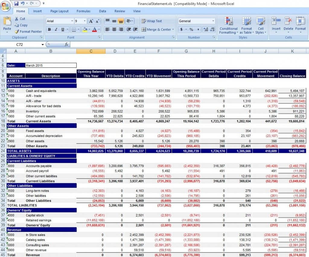 Download Personal Financial Statement Template Excel From Regarding Excel Financial Report Templates