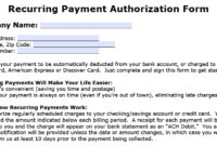 Download Recurring Payment Authorization Form Template Intended For Credit Card Billing Authorization Form Template