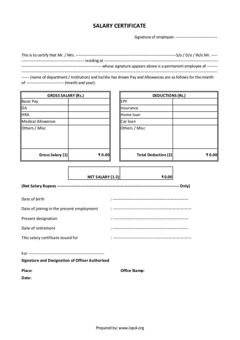 Download Salary Certificate Formats – Word, Excel And Pdf With School Leaving Certificate Template