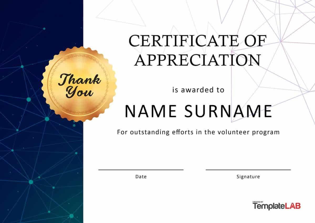Download Volunteer Certificate Of Appreciation 03 With Regard To Volunteer Award Certificate Template