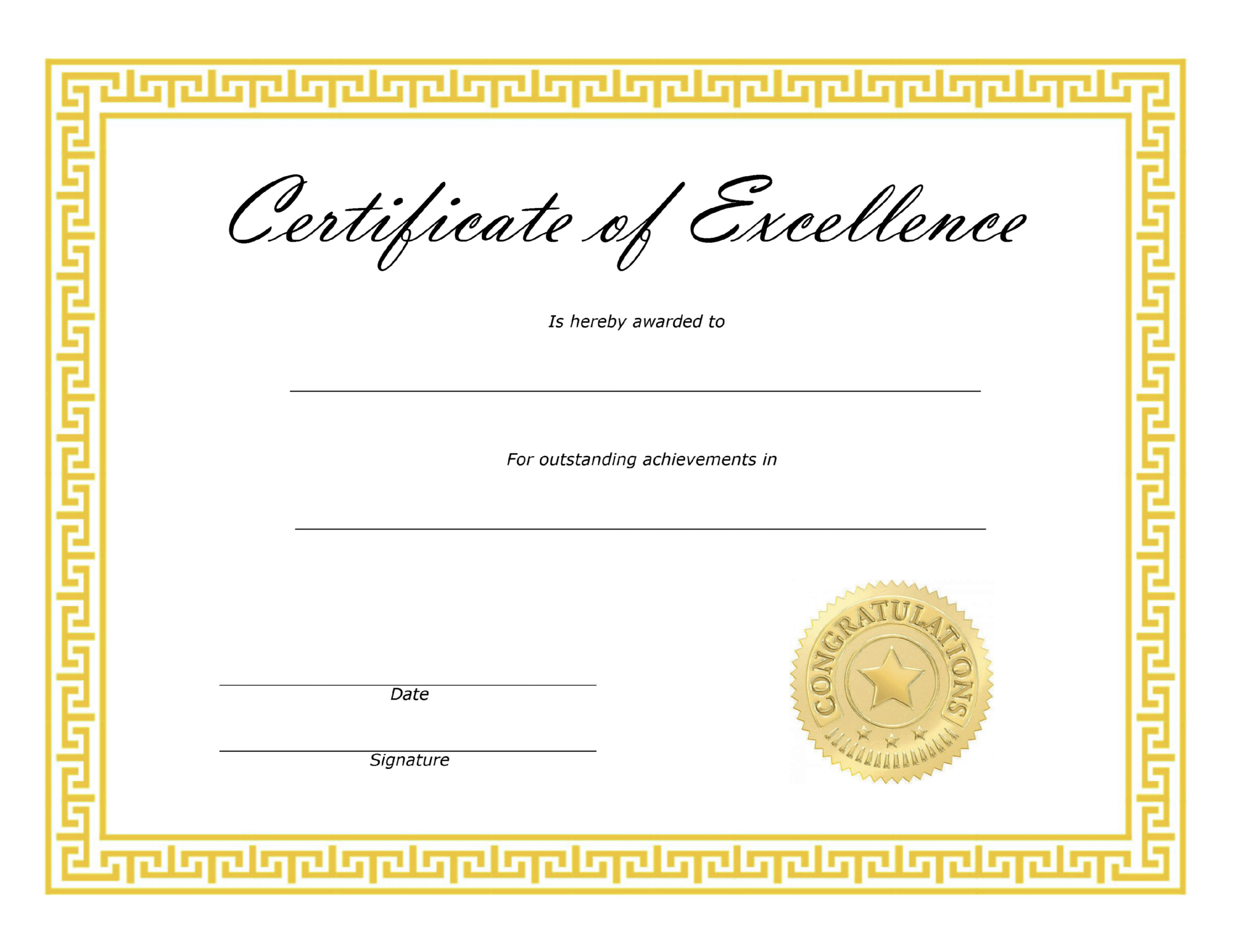 ❤️ Free Sample Certificate Of Excellence Templates❤️ With Certificate Of Excellence Template Free Download