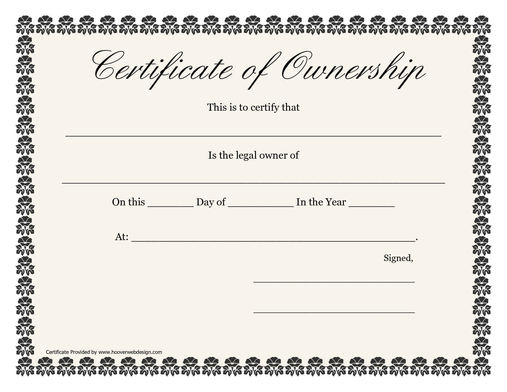 ❤️5+ Free Sample Of Certificate Of Ownership Form Template❤️ Throughout Certificate Of Ownership Template