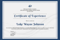 ❤️free Printable Certificate Of Experience Sample Template❤️ intended for Good Job Certificate Template