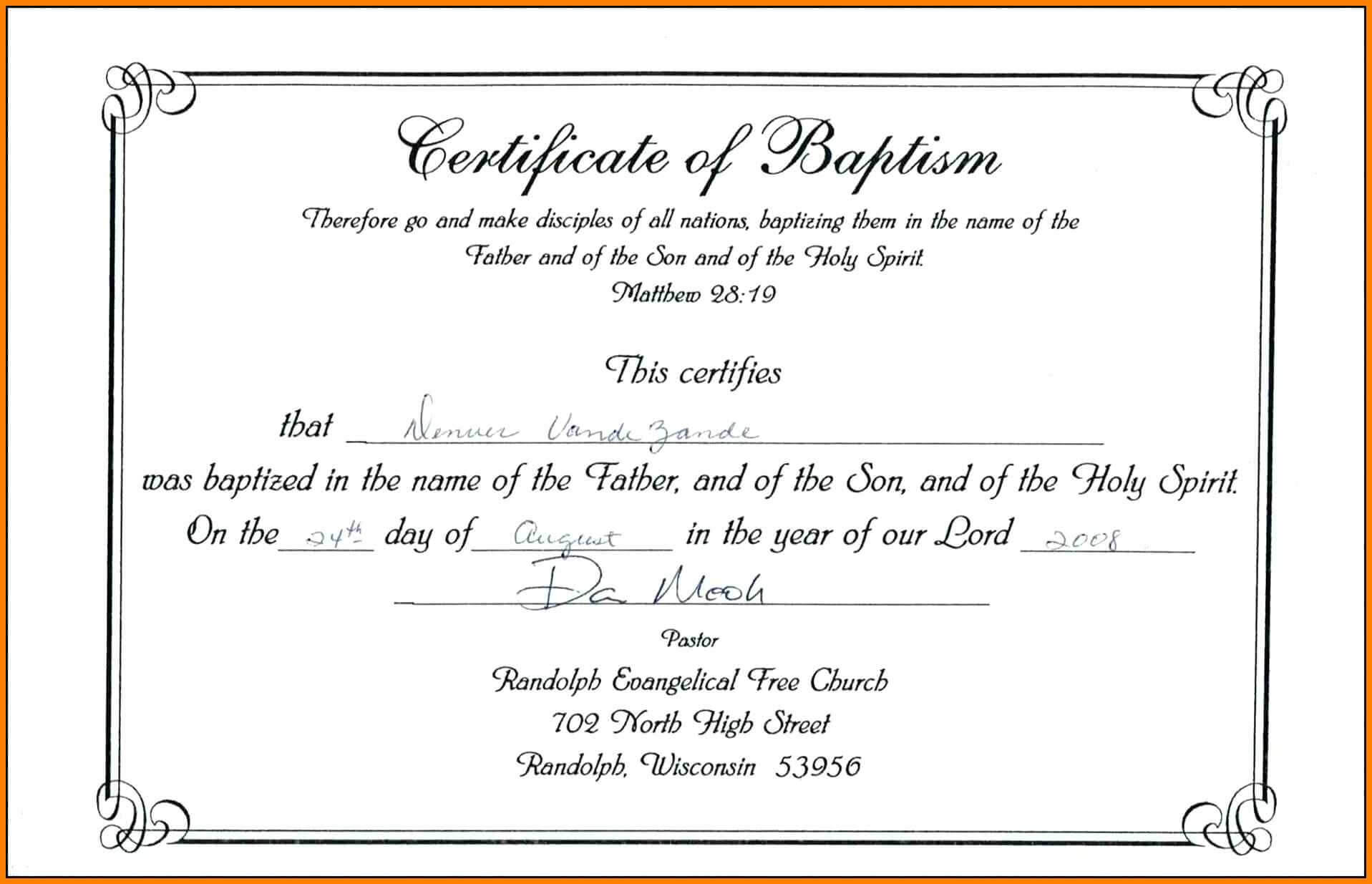 ❤️free Sample Certificate Of Baptism Form Template❤️ In Roman Catholic Baptism Certificate Template