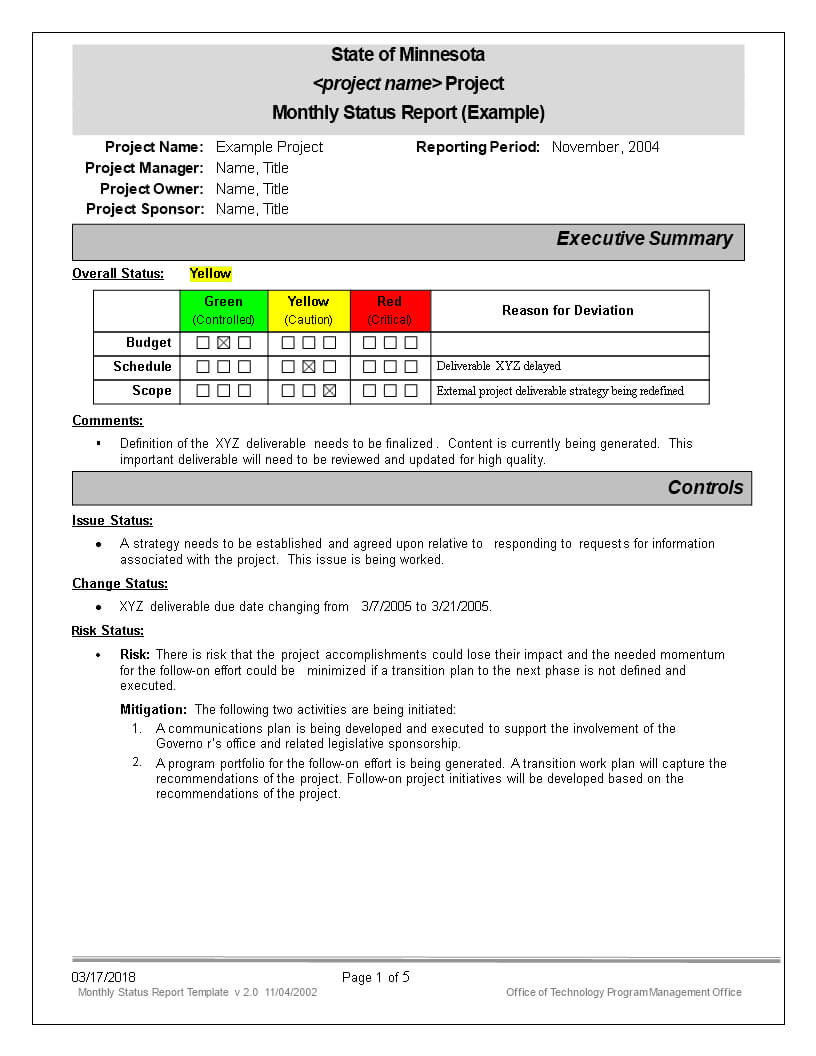 免费Monthly Status Report | 样本文件在Allbusinesstemplates For Monthly Status Report Template Project Management