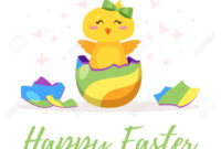 Easter Day Greeting Card Template With Cute Chick Hatched From.. inside Easter Chick Card Template