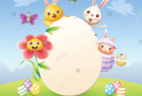 Easter Greeting Card Template – Easter Bunny, Chicken inside Easter Chick Card Template