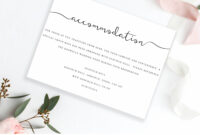 Editable Accommodations Card Insert Wedding Information Card Inside Wedding Hotel Information Card Template