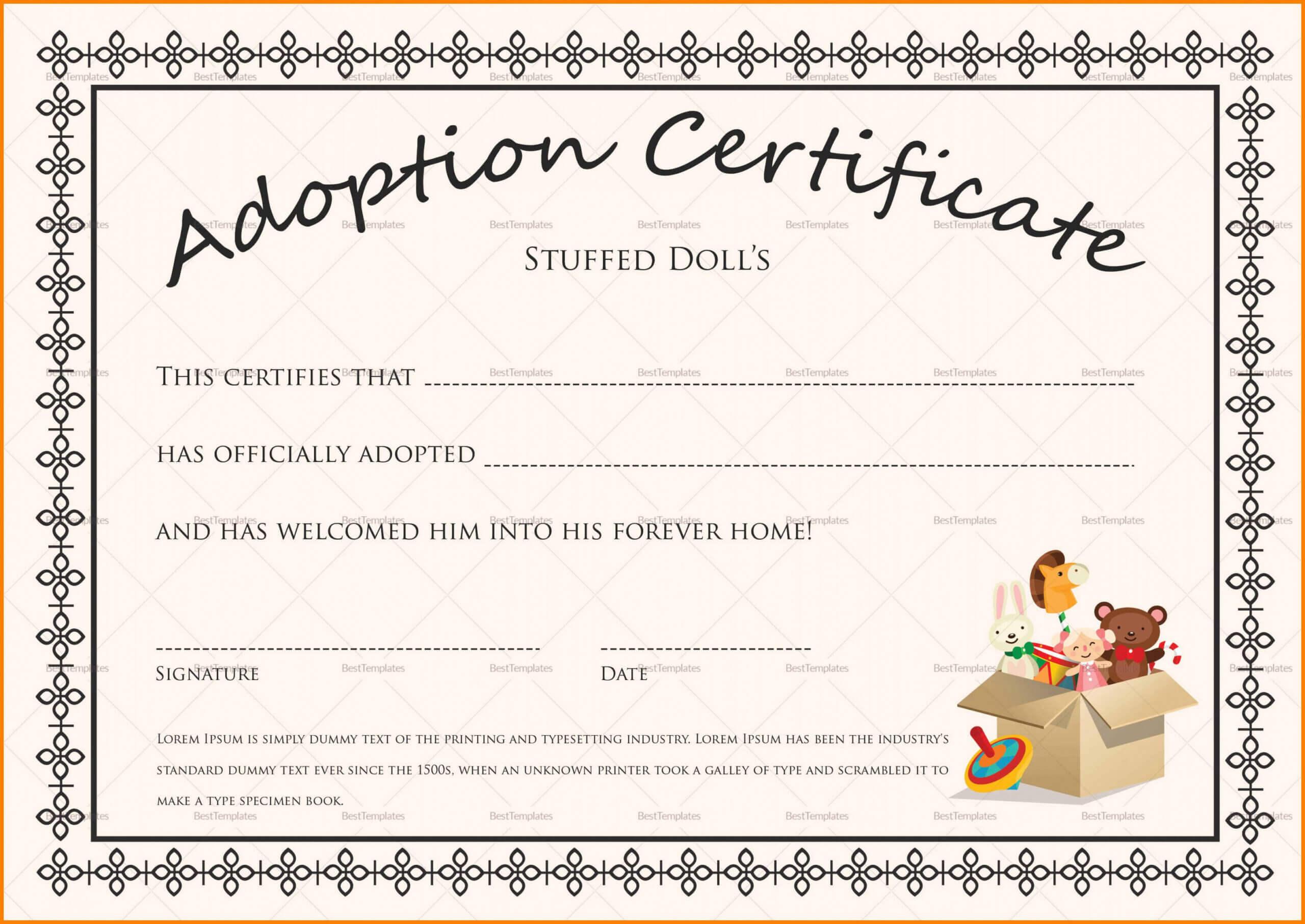 Editable Adoption Certificates Hadipalmexco Child Adoption Intended For Child Adoption Certificate Template