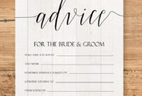 Editable Advice Cards For The Bride-To-Be, Custom Advice throughout Marriage Advice Cards Templates